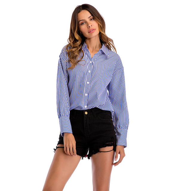 Aibo Carla 2018 Fashion New Autumn Women Shirt Office Lady Striped Shirt Female Long Sleeve Botton Blue Pink Casual Shirt