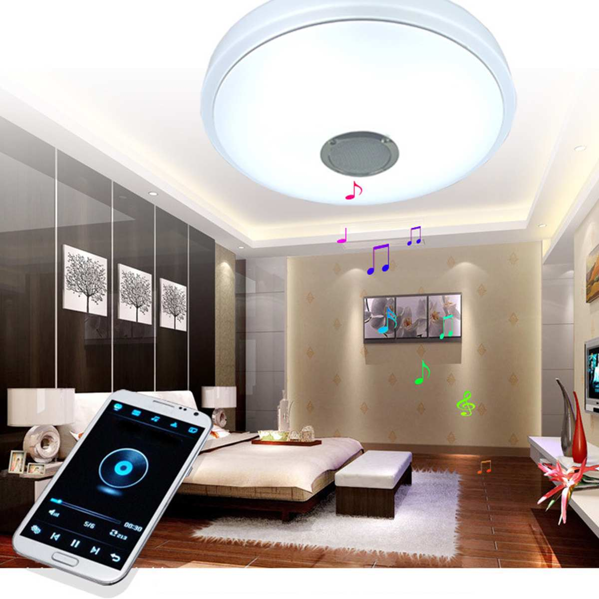 24W Modern Acrylic LED Ceiling Light bluetooth Speaker Music Player RGB Ceiling Lamp Lights for Living Room Bedroom Lighting24W Modern Acrylic LED Ceiling Light bluetooth Speaker Music Player RGB Ceiling Lamp Lights for Living Room Bedroom Lighting
