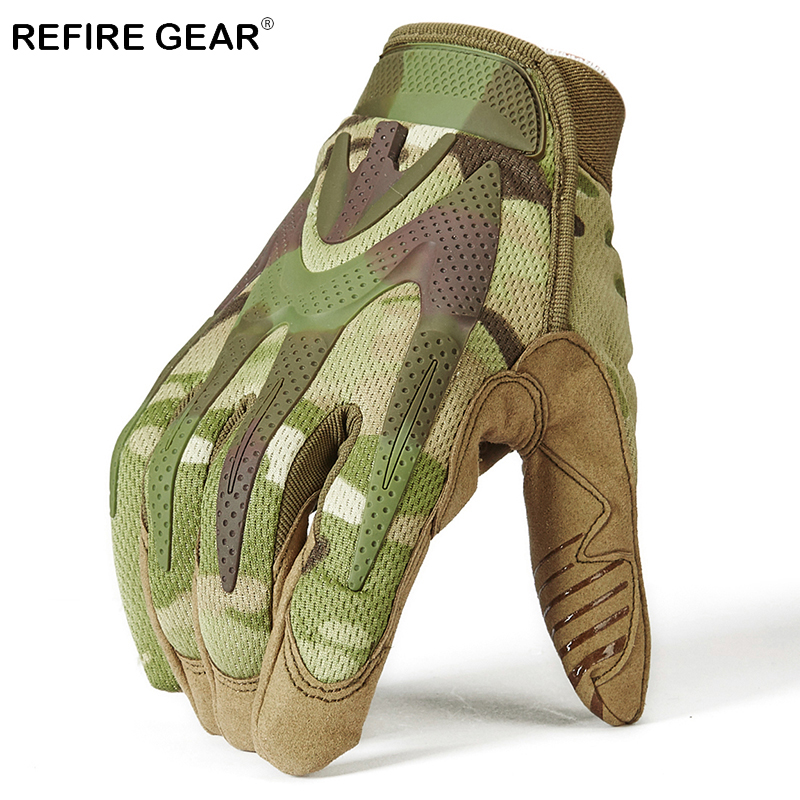 ReFire Gear Military Camouflage Outdoor Sport Gloves Men Winter Warm Full Finger Hiking Gloves Male Airsoft Tacrical Army Gloves