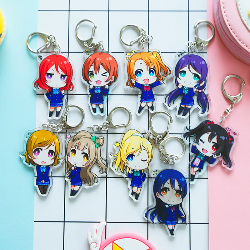 17 type Anime LoveLive! Keyring School idol project Acrylic Keychain Cute Character Nico Ellie Tojo Umi Rin Limited Kawaii Penda ...