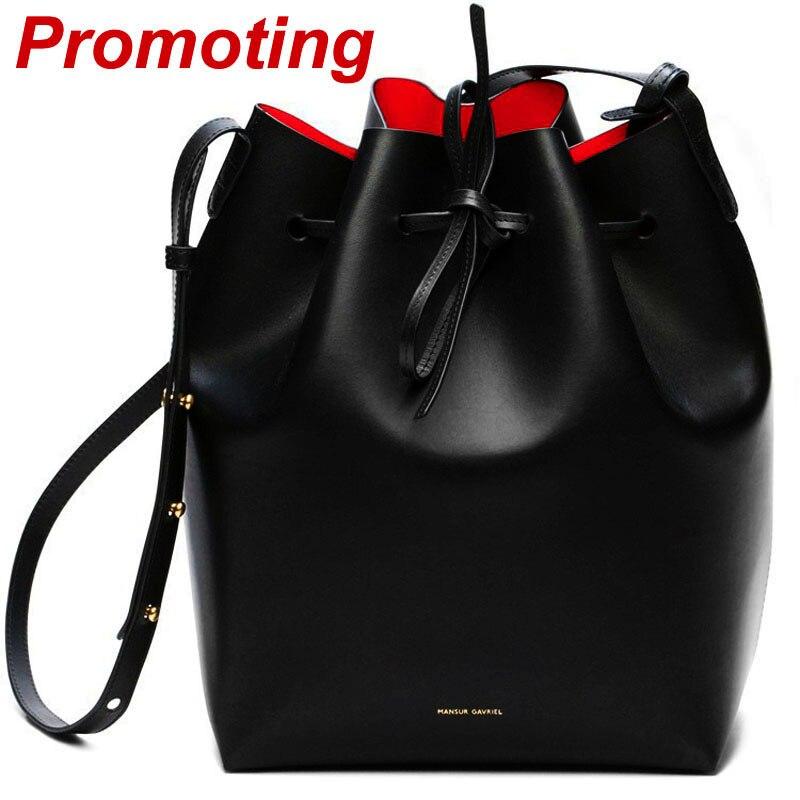 Mansur Gavriel Bucket bag women Pu Leather String Shoulder bag Luxury Bags Famou