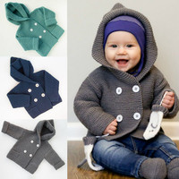 Stylish Fashion Design Boys Girls Clothes Button Hooded Knitted Sweater Cardigan Coat Tops Children S Hooded