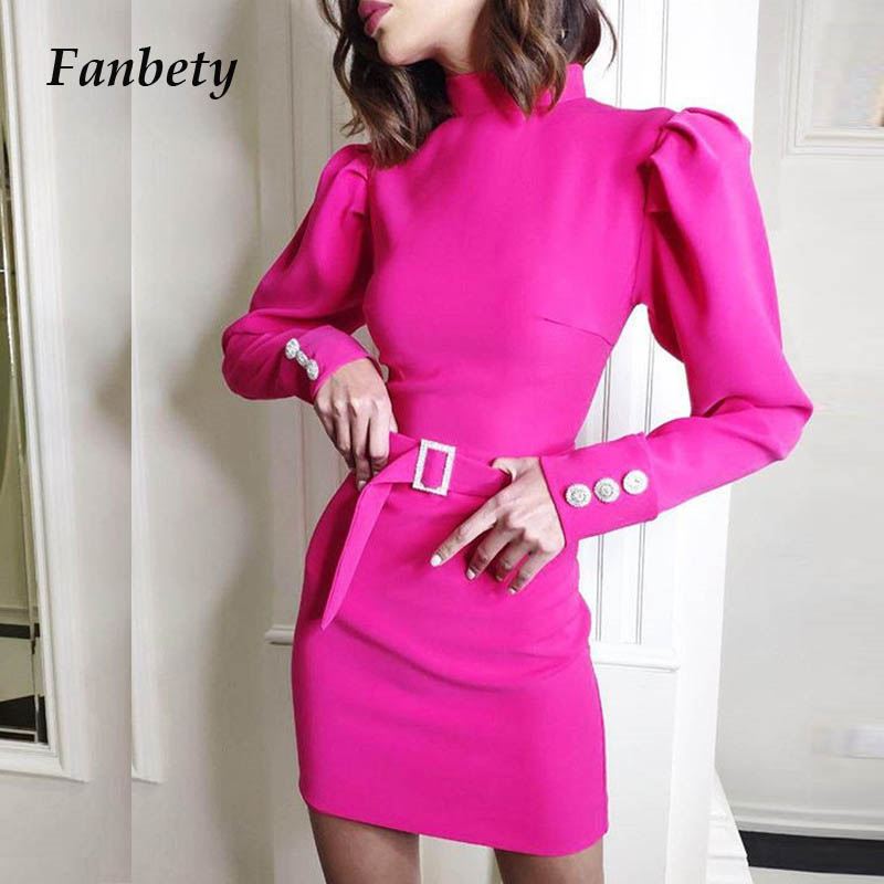Fanbety New Autumn Puff Shoulder Long Sleeve Dress Women Turtleneck Solid Belt Mini Dress Lady Back Zipper Bodycon Party Dresses