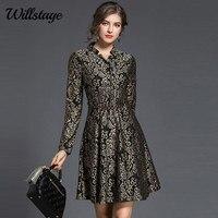 Willstage Floral Printed Dress High Quality V Neck Dresses Women Long Sleeve Pattern Waist Slim Vestidos