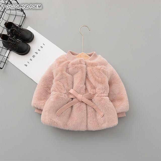 الشتاء الطفل جاكيت أطفال و معطف فو الفراء طفلة ملابس الشتاء الدافئة الرضع طفل رضيع ملابس خارجية سنوسويت طفلة معطف