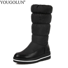 Down Mid-Calf Boots Women Warm Winter Woman Flat Platform Shoes A306 Fashion Ladies Black Blue Round Toe Crystal
