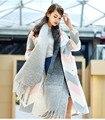 LESIES Новые Длинные Куртки Женщин Пончо Шерстяное Пальто Высокого Качества Негабаритных женская Мода Кашемировые Пальто Женский Полушерстянная LS168203