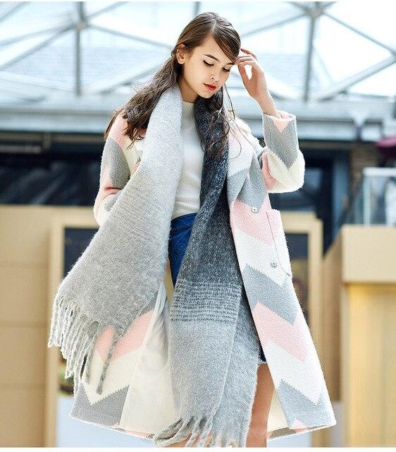 f89ea8c7294 Lesies nuevas chaquetas largas de las mujeres abrigo de lana poncho de lana  mujer abrigo de