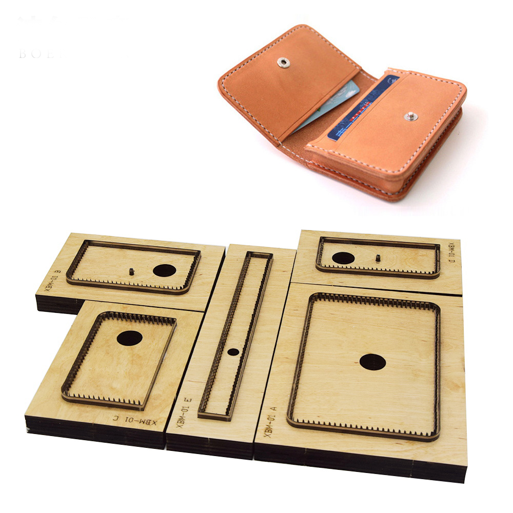 5pcs/set  DIY Leather Craft Women Card Holder Folded Wallet Knife Mould Die Cutter Hand Machine Punch Tool Pattern 105x70mm