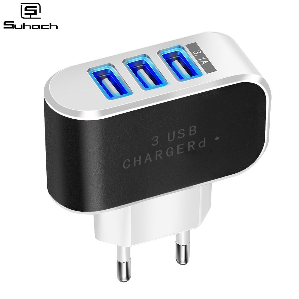 Suhach USB <font><b>Charger</b></font> 3 Ports 5V3.1A Travel Wall Power Adapter EU Fast <font><b>Charger</b></font> Charging for Xiaomi Samsung HTC Huawei Smartphone image