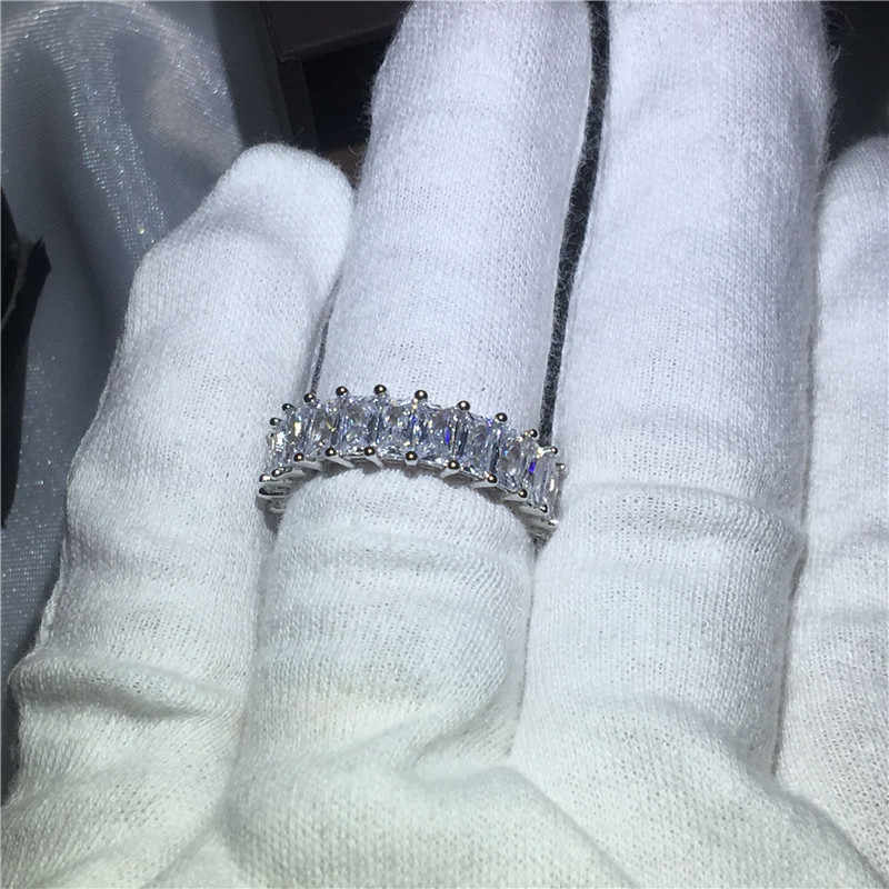 2018 テニスジュエリー 925 スターリングシルバーリングプリンセスカット Sona 5A ジルコン石婚約のためのウェディングバンドリング女性男性ギフト