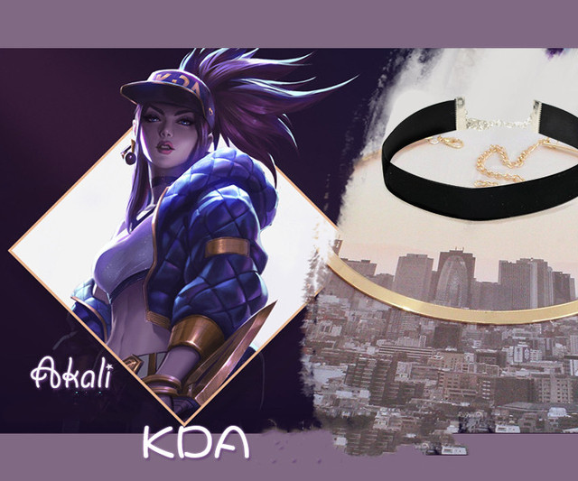 Hot Game LOL KDA Group Cosplay Ali Necklace Akali Necklace Fashion Accessories Jewelry For Women Sell Well  Popular  Ornaments  1
