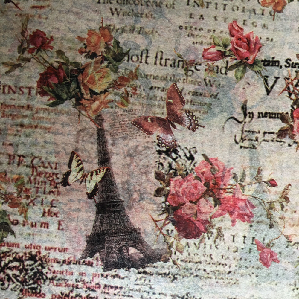 120pcs Retro Flowers Eiffel Tower Pattern Gift Wrapping Tissue