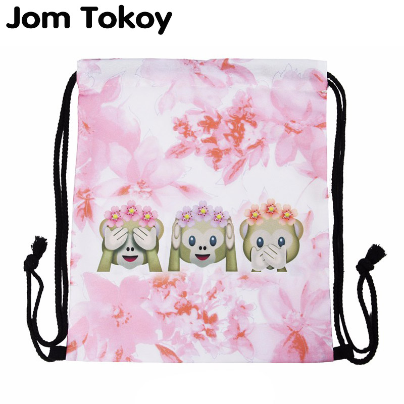 New Fashion Pink Monkey 3D Printing Travel Softback Women Mochila Drawstring Bag 27082