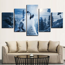 Frame modern living room decorative artwork 5 panel moonlight animal wolf wall art poster modular picture canvas painting(China)