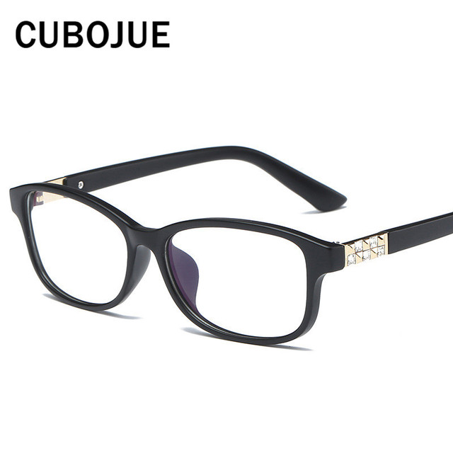 bfe485a01ba Cubojue Small Woman s Glasses Rhinestone Vintage Eyeglasses Frame Women  Plastic Square Fashion Eyewear Transparent Lens 2017