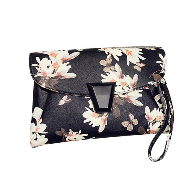 Fashion design women brand clutch bag high quality for party PU leather printing flower women party  messenger bag T99