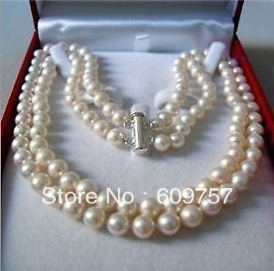 "FREE SHIPPING>>>@@ Use Natural Pearl NECKLACES Natural beautiful jewelry 2Rows 17"" WHITE FRESHWATER REAL PEARL NECKLACE 8--9MM N"