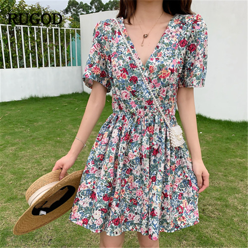 RUGOD 2019 Women Floral Dress V-neck Half Sleeves A-line Slim Mini Vestidos Vintage Romantic Korean Style Sweet Holiday Mujer