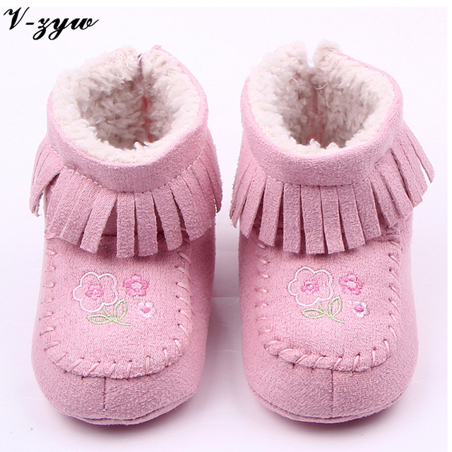 Baby booties winter newborn shoes warm plush fabric baby booties 0-12 months toddler Fringed velvet soft bottom baby warm shoes