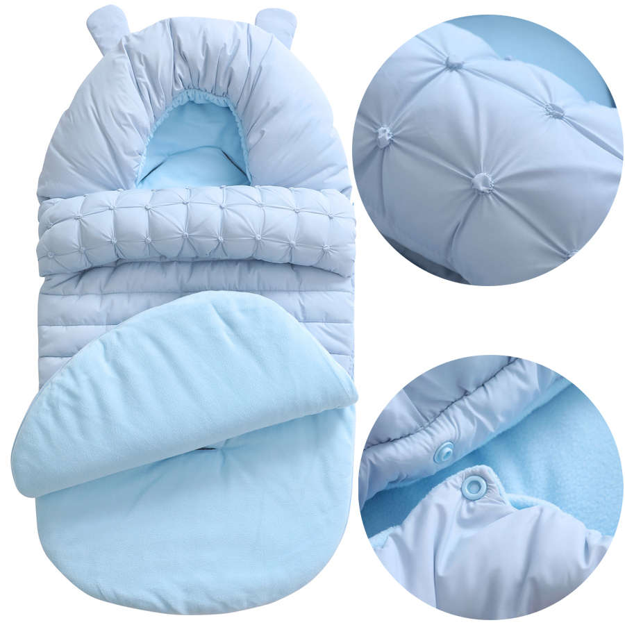 Thick Baby Swaddle Wrap Knit Envelope Newborn Sleeping Bag Baby Warm Swaddling Blanket Infant Stroller Sleep Sack Footmuff DS19
