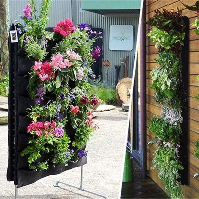Reusable Original Polyester Flower Pot Wall Mounted Vertical Garden Pot  Planting Hanging Flower Pot Indoor