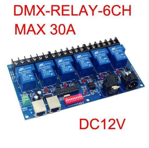 2019 beste preis 1 stücke 6CH Relais schalter dmx512 Controller RJ45 XLR 6 weg relais schalter (max 30A) DMX512 decoder