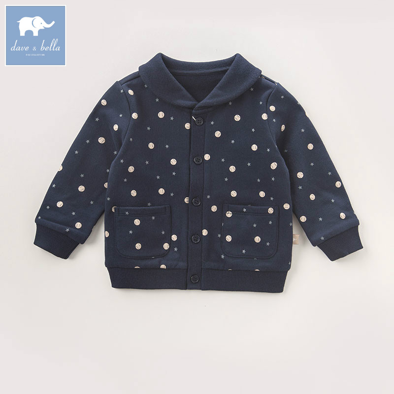 DB6075 dave bella autumn infant baby girls navy coat kids fashion clothes toddler printed coats children high quality tops db3814 dave bella autumn baby boys star printed t shirt kids navy tees bosy tops kids t shirts
