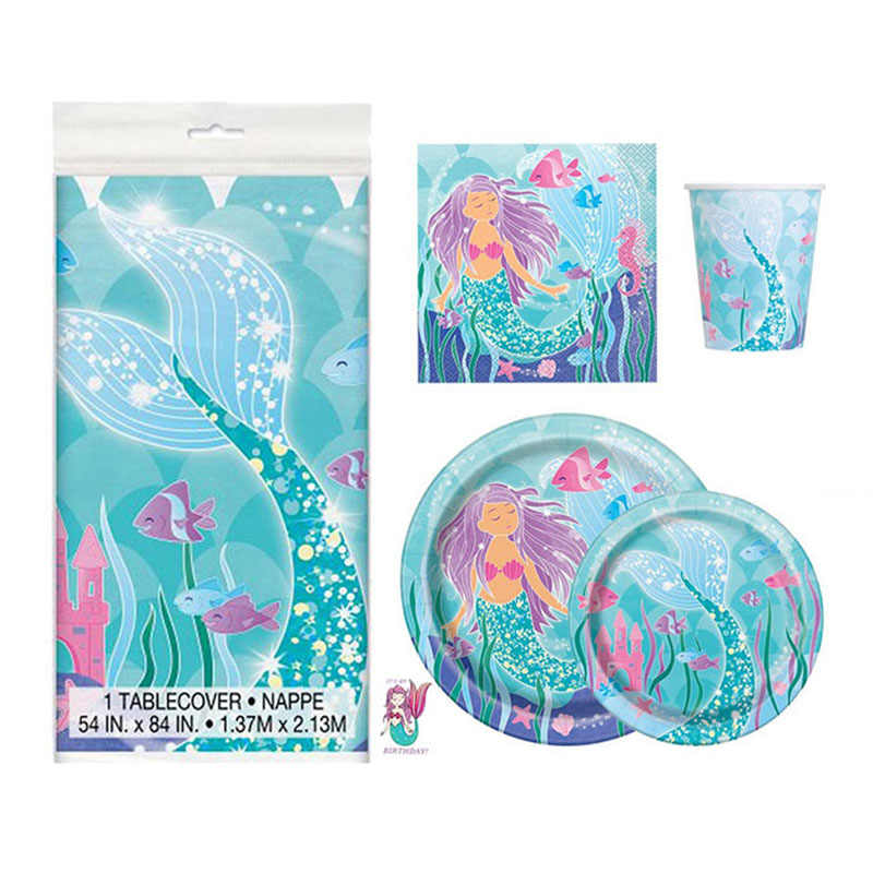 Русалки вечерние одноразовая посуда набор русалки салфетки пластины чашки с днем рождения» для маленьких девочек баннеры-Декорации для вечеринки воздушные шары