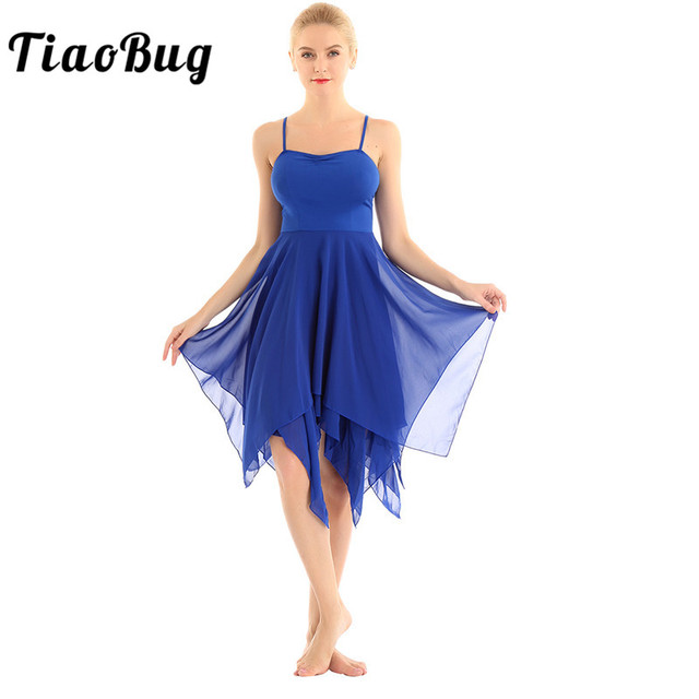 TiaoBug Adult Spaghetti Straps Asymmetrical Women Chiffon Modern Ballroom Dress Ballet Tutu Contemporary Lyrical Dance Costumes