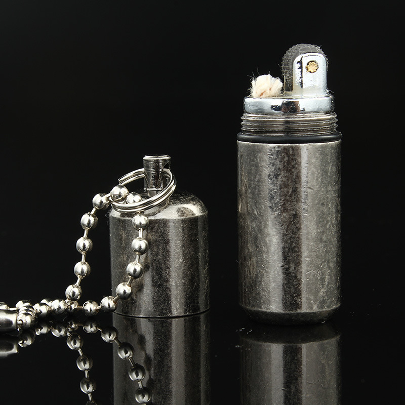 Portable Kerosene Lighter Outdoor Key Chain Pocket Gasoline Flint Lighter Inflated Keychain Oil Lighter Free Fire Lighter