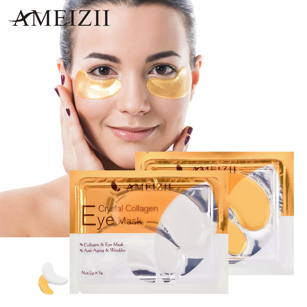 AMEIZII Gold Eye Patches Mask Anti Wrinkle Eye Patch For Eye Care Dark Circles Remove Collagen Gel Protein Sleep Patch Eyes Bags(China)