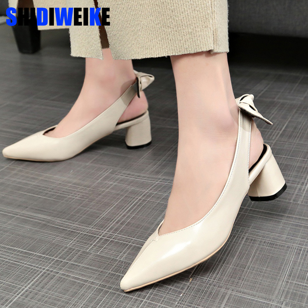Women Elegant Office Heel Shoes Thick Heel Sandals Pointed Bow High Heels Set Of Feet Casual Shoes Sandalias Mujer 2019 New g235Women Elegant Office Heel Shoes Thick Heel Sandals Pointed Bow High Heels Set Of Feet Casual Shoes Sandalias Mujer 2019 New g235