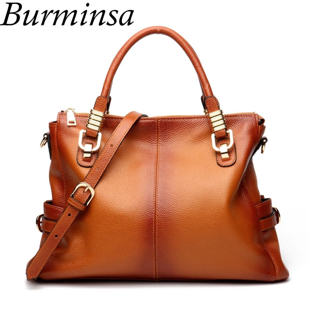 Burminsa 100 Genuine Leather Handbags Women Retro Big Brown Shoulder Bags Ladies Hobo Messenger Bags Winter