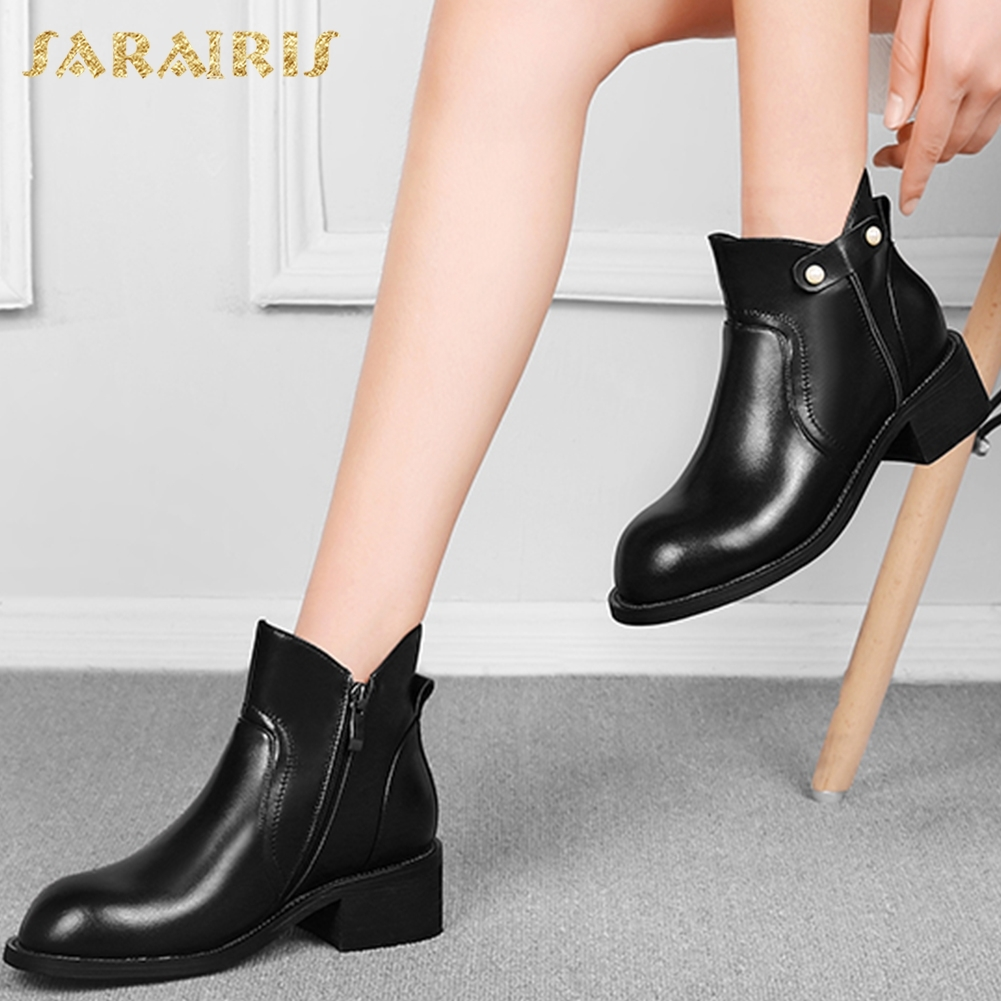 SARAIRIS 2018 Genuine Leather Large Size 33-42 Dropship New Fashion Boots Woman Shoes Zip Up Shoes Woman Ankle Boots sarairis new plus size 32 43 sequin add fur winter boots woman new fashion dropship zip up ankle boots woman shoes woman