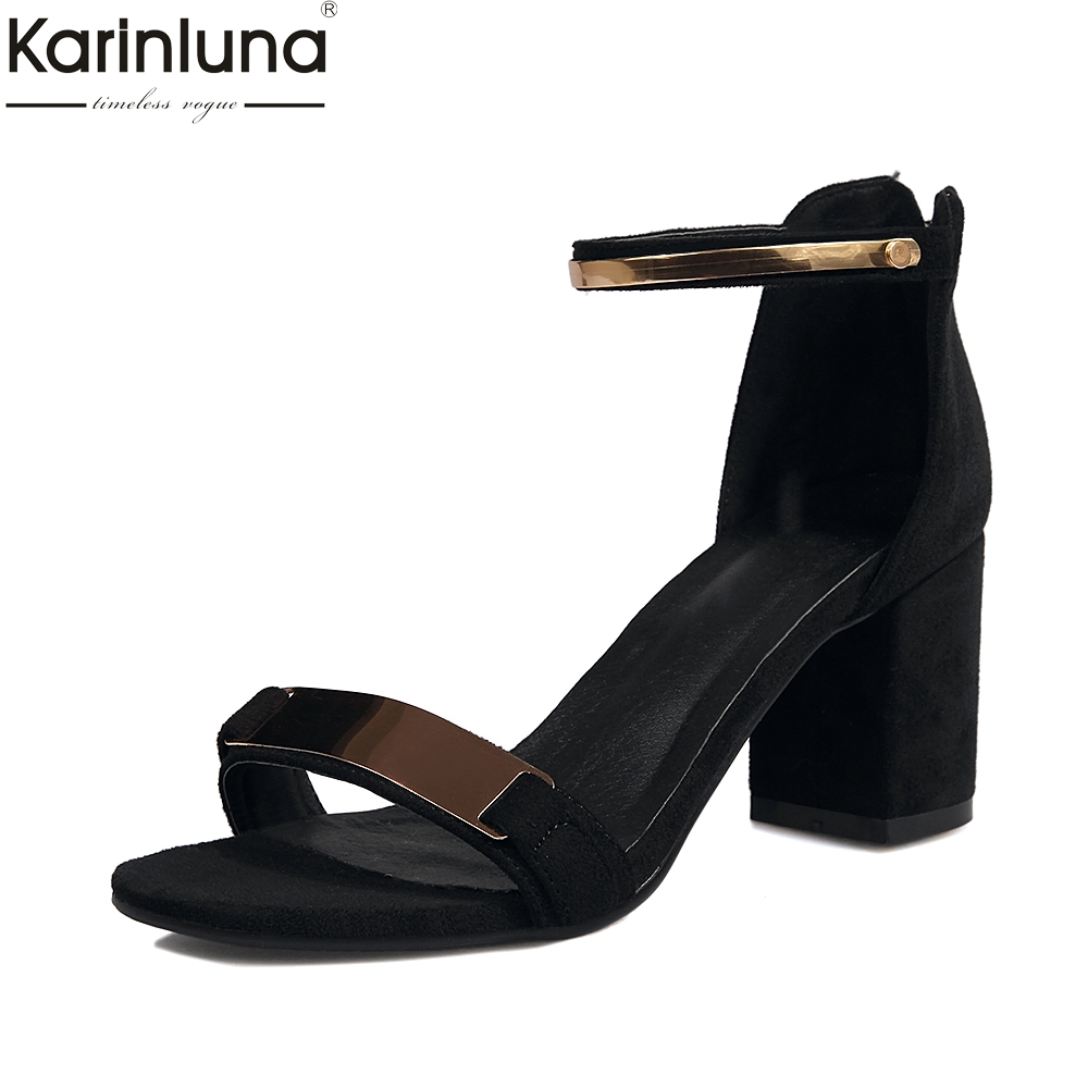 Karinluna 2018 Metal Decoration Ankle Strap Large Size 34-43 Summer Shoes Woman Sandal Fashion Square Heels Date Sandals Women