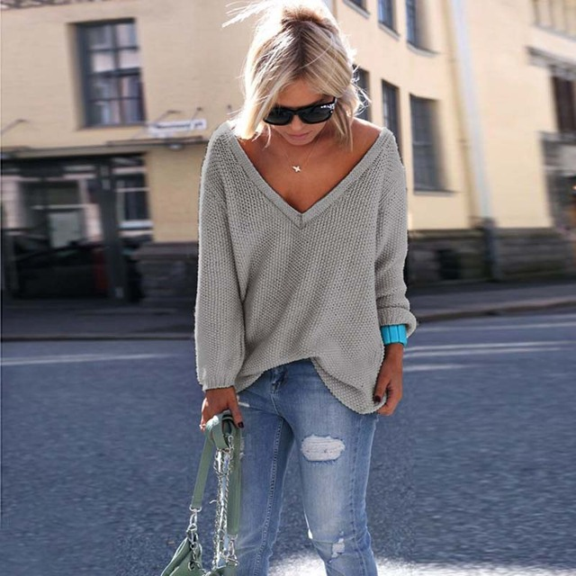 Sexy Knitted Long Sleeve V Neck Pullover Sweater 1