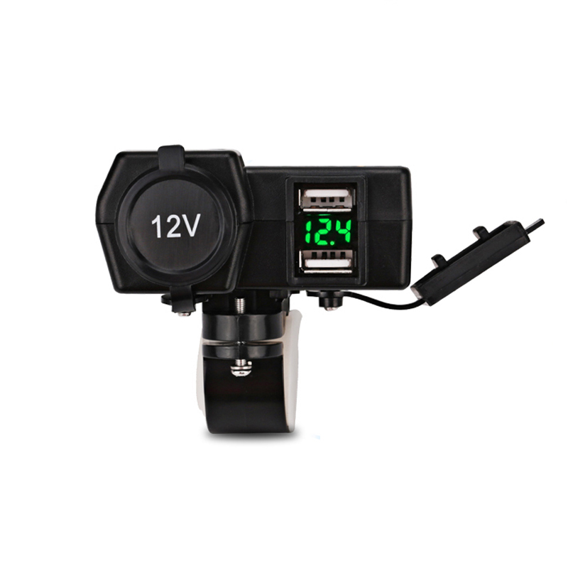 12V Motorcycle Charger Led Voltmeter Motorbike Cigarette Lighter Dual USB Socket for Harley Suzuki Yamaha Kawasaki Phone GPS