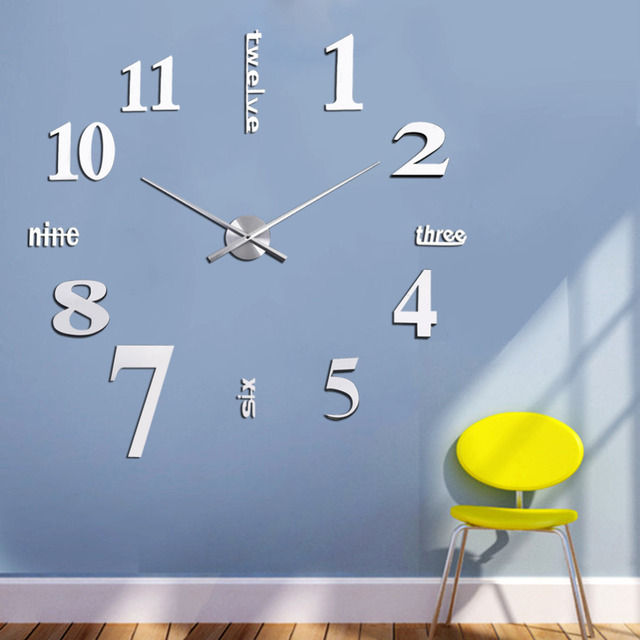 diy 3d wall clocks mirror face acrylic numeral wall sticker clock