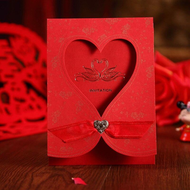 Wedding invitations three Folds invitation card peach hollow out ...