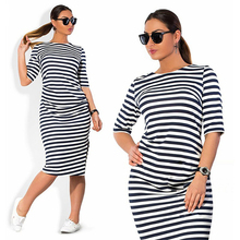 5XL 6XL Large Size 2018 Autumn Summer Dress Big Black White Striped Straight Dresses Plus Women Clothing Vestido