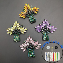 1pc tree flower Rhinestone beaded Patches for clothing Sew sequins sew on patch applique embroidery parche hats bags