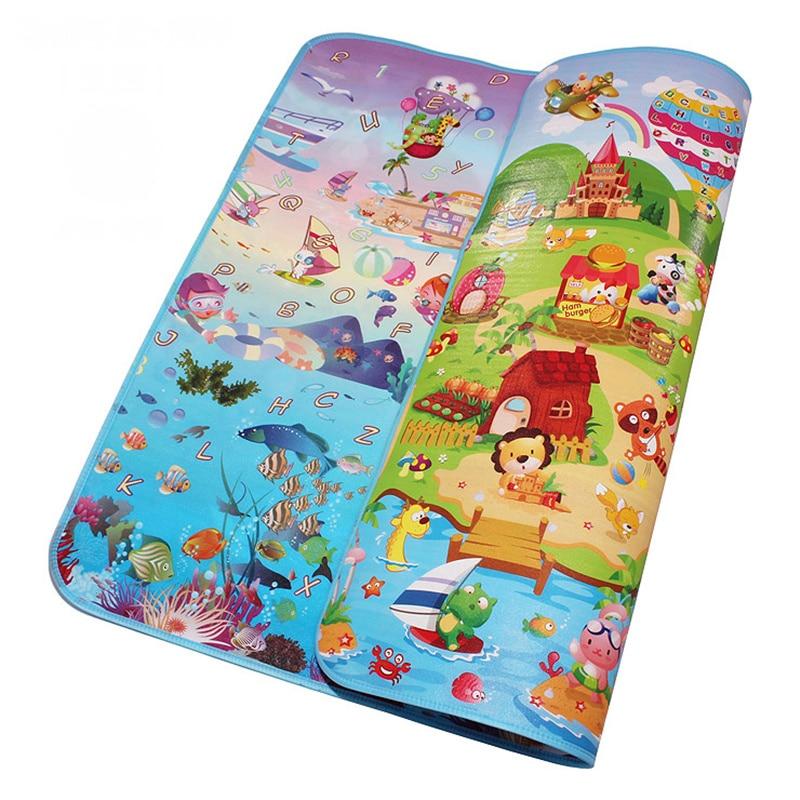 Double Side Sea World Boldog Farm Baby Play Mats csecsemő csúszó játék Szőnyegek Kisgyermek tornaterem Szőnyegek Gyermek Piknik 5MM vastagság