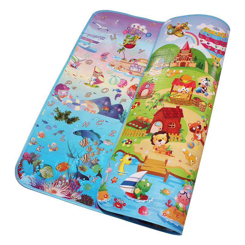 Double Side Sea World Happy Farm Vauva Play Mats Infant Crawling Pelaavat matot Toddler Gym Carpets Lasten Picnic 5MM Paksuus