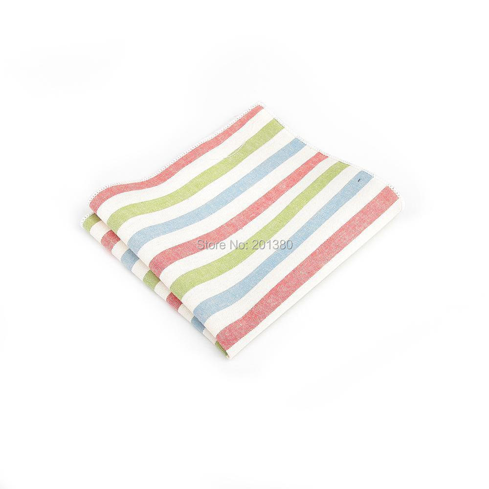 2019 Men Stripe Pocket Square Plaid Handkerchief Accessories Gift Business Cotton Fashion