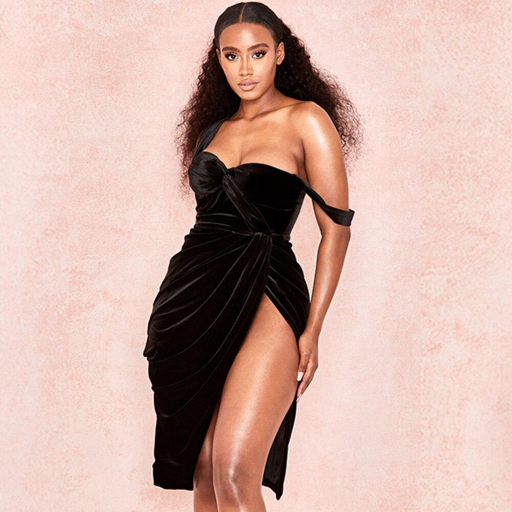 2019 модное сексуальное бархатное летнее черное сексуальное летнее платье с разрезом от бедра без спинки с открытыми плечами Vestidos Клубная одежда Вечерние новые Festa