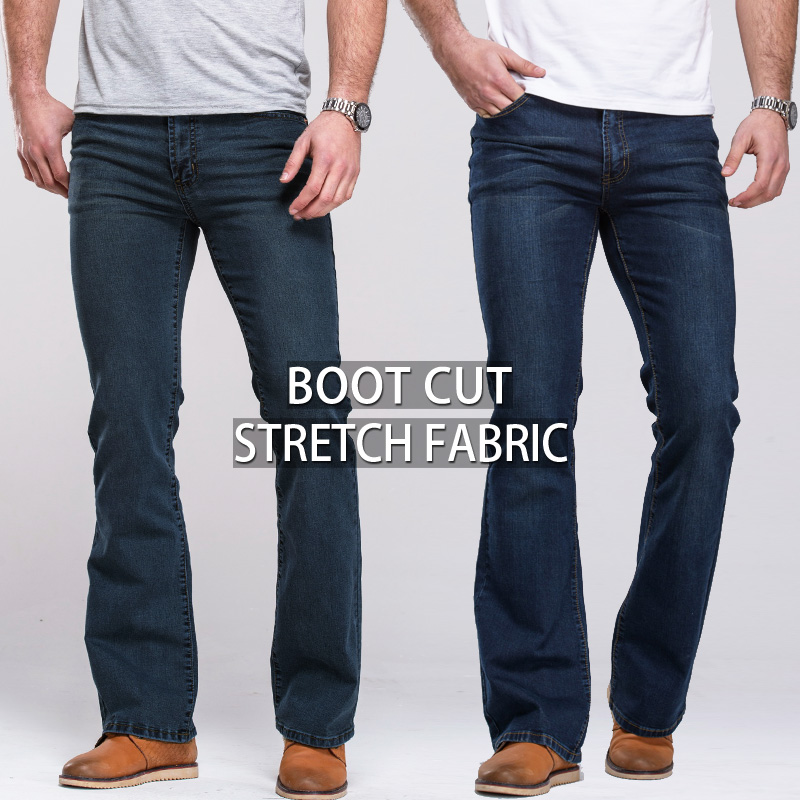Image 2 - Mens Boot Cut Jeans Slightly Flared Slim Fit Famous Brand Blue Black jeans Designer Classic Male Stretch Denim jeans-in Jeans from Men's Clothing