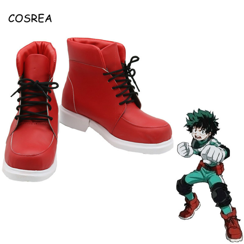 Anime Boku No Hero Academia Izuku Midoriya Cosplay Costume My Hero Academia Red Props Boots Shoes Halloween Party For Man Boys