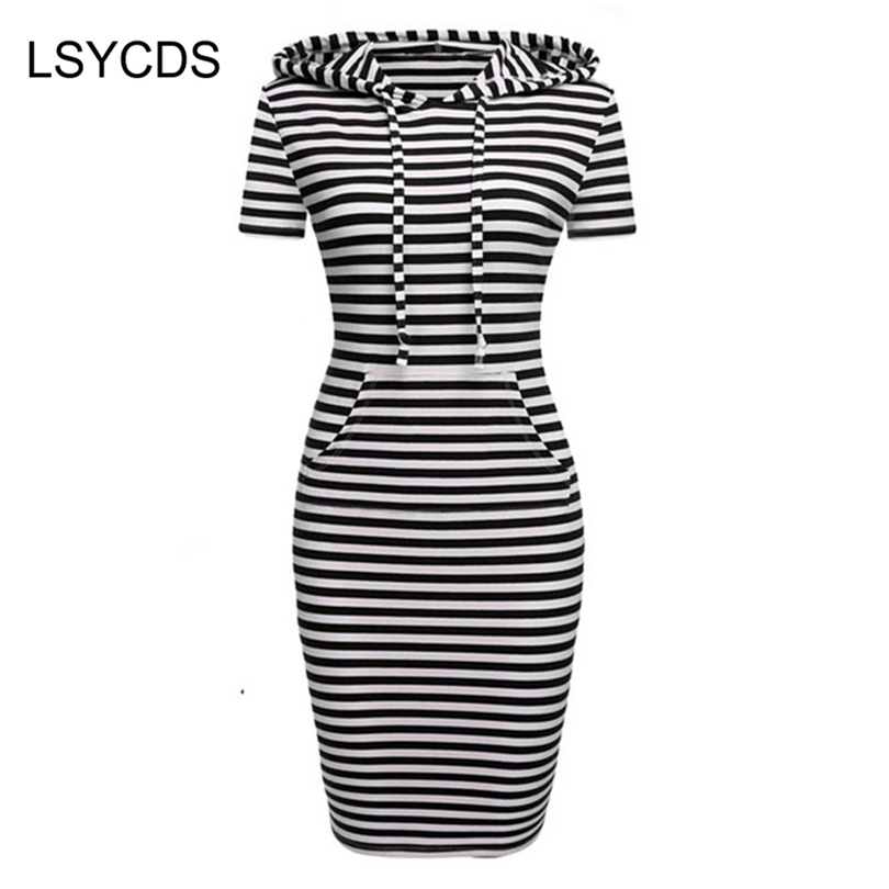 2018 Women Hooded with Pockets Spring Summer Casual Party Home Wear Soft Bodycon Sheath Pencil Dress