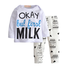 2017 Autumn Newborn Baby Boys Girls Clothes Set Cotton Long Sleeves Letter MILK T-shirt+Casual Pants Infant Clothing Set 0-24M 2017 autumn new born baby girls clothing sets infant long sleeved letter cotton t shirt